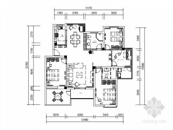 [原创]传统中式三室两厅室内装修施工图(含效果图)