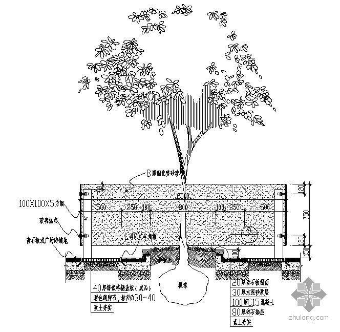 方形树池施工大样图