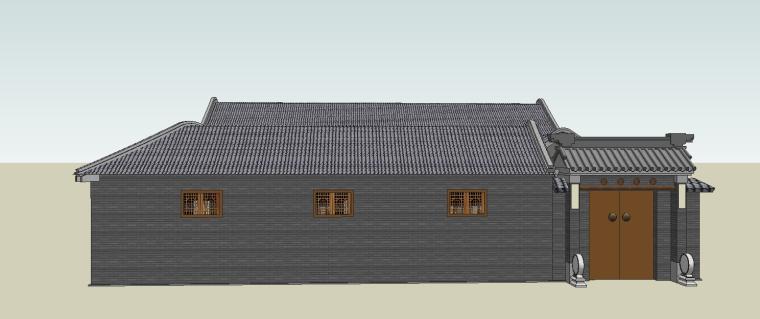 中式古建四合院模型su模型_1