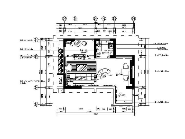 [广东]现代风格复式样板房CAD施工图(含效果图)