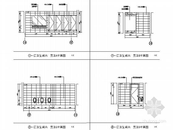 [江苏]省级产品质量检验事业单位现代检验楼装修施工图(含效果)卫生间立面图