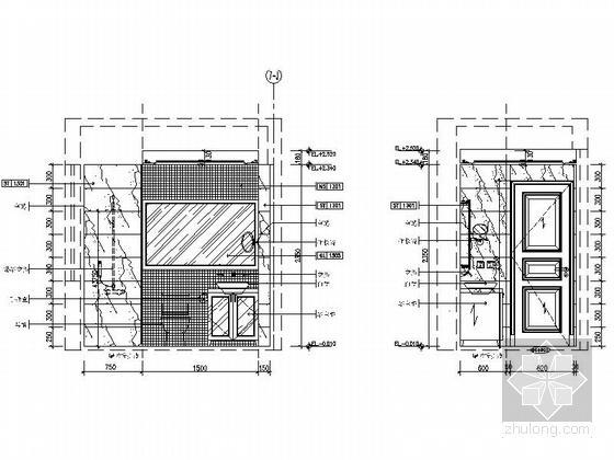 [广东]三居室样板房室内装修设计CAD施工图(含效果)卫生间立面图