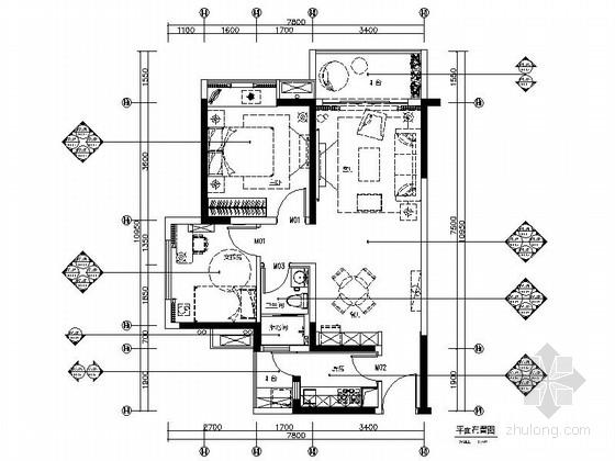 [广东]温馨现代风格两居室室内装修施工图(含效果图)