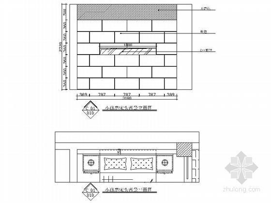 [广州]欧式风格三室两厅室内设计施工图 立面