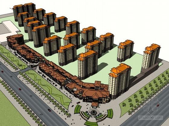 欧式小镇建筑SketchUp模型下载