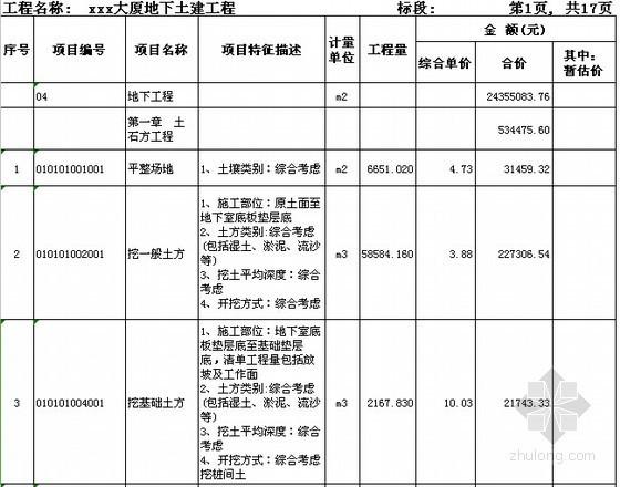 [广东]2015年大厦土建工程预算书
