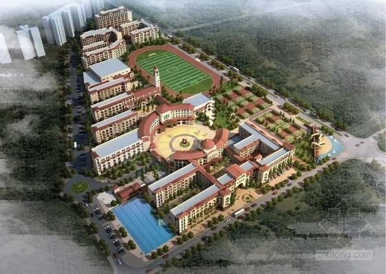 [广东]西班牙风格多层公建学校建筑设计方案文本(含CAD)
