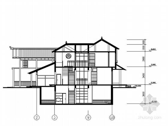 两层日式风格别墅建筑施工图-两层日式风格别墅建筑剖面图