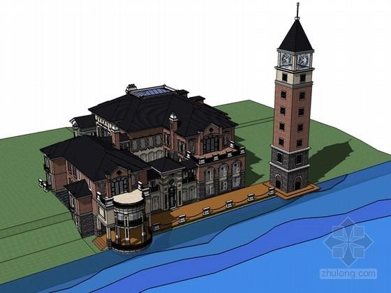 现代欧式别墅SketchUp模型下载
