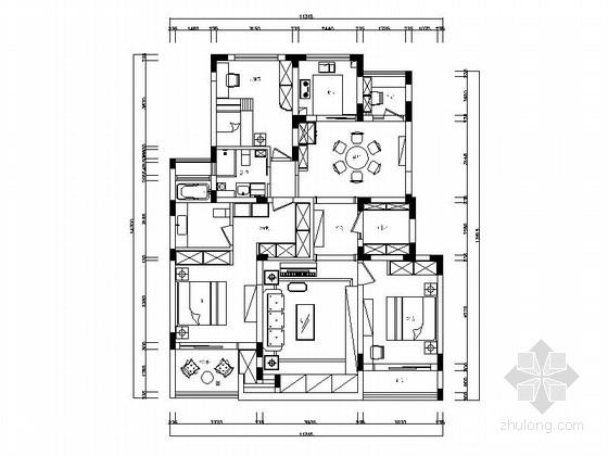 [江苏]简约现代风格四居室样板间装修施工图(含效果)