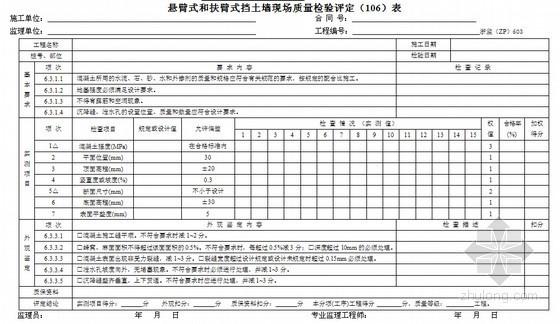 [浙江]超全公路工程施工监理统一用表(360页)-悬臂式和扶臂式挡土墙现场质量检验评定表