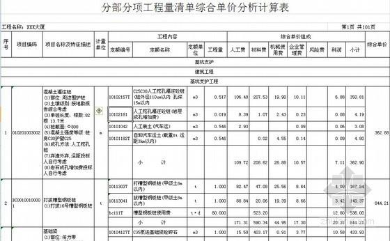 [福建]2013综合办公楼房建工程量清单预算及招标文件(综合单价分析)