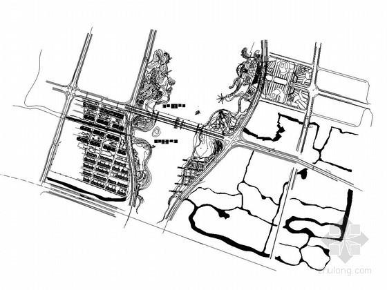 城市主干道人形独塔双索面斜拉桥桩基平面图
