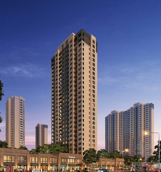 超高层Artdeco风格住宅区规划效果图