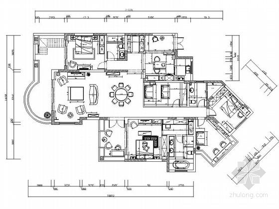 [上海]精品现代风格三居室室内装修施工图(含效果)