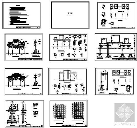 某社区入口牌坊结构设计图