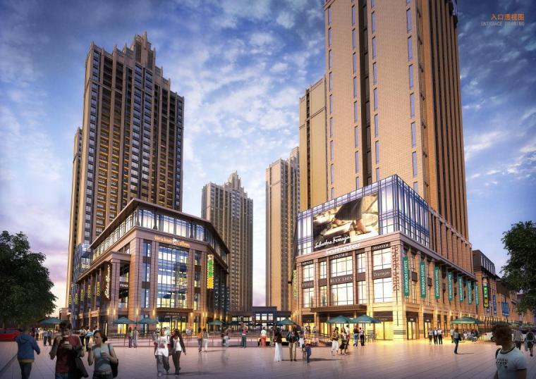 高层现代artdeco风格优质高端点式住宅楼建筑效果图
