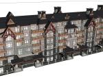美式多层住宅建筑设计SU模型
