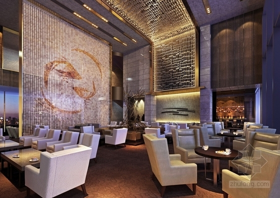 [北京]东三环CBD全球控股超五星级高端豪华白金酒店施工图(含效果)大堂吧效果图