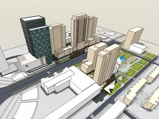 城市办公建筑SketchUp模型下载