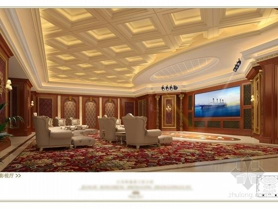 [苏州]奢华欧式风格商务会所四层卧室休息区室内装修图(含效果) 影视厅效果