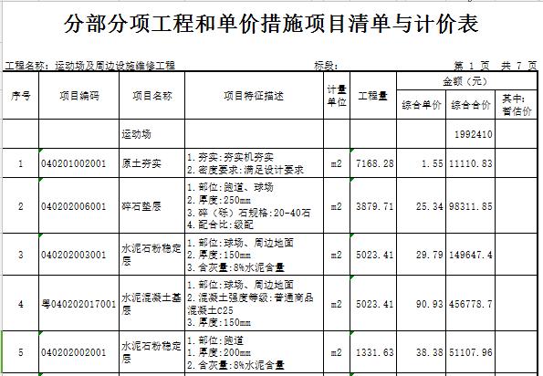 【广东】学校塑胶面层运动场及周边设施维修工程预算书(含图纸)_5