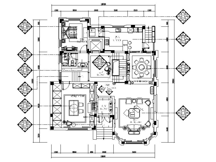 [江苏]豪华别墅设计全套CAD施工图(含效果图)