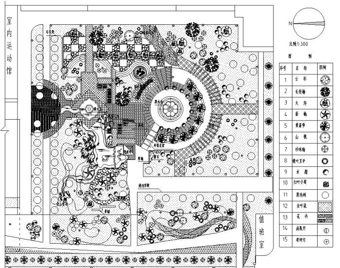 园林各类绿地景观设计CAD平面图346套(赠送CAD素材图库)-某文化广场规划设计总平面图