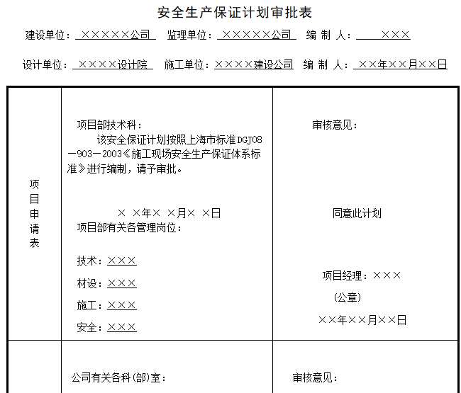 安全生产保证计划审批表