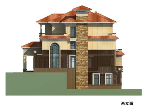 三层典雅式石材外墙独栋住宅建筑立面图