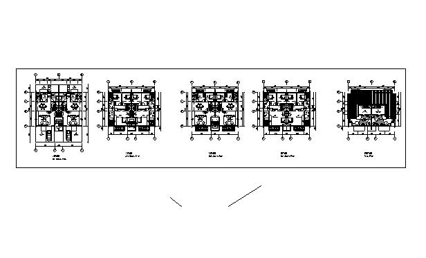 方案某四层带阁楼双拼别墅户型图(南入口)