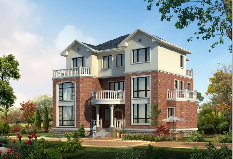 三层独栋别墅建筑设计框架结构(包含效果图+CAD)
