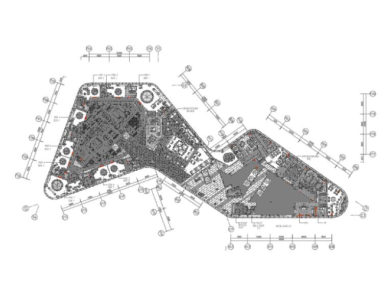 [陕西]君悦特色酒店公区设计施工图+效果图-7二十三层平面布置图