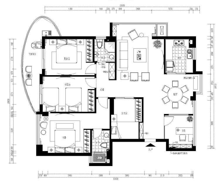 150平现代四居室全套施工图设计及大样图(附效果图)