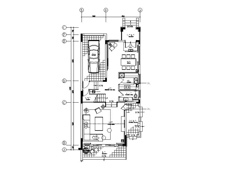 [广东]现代风格别墅样板间设计CAD施工图(含效果图)