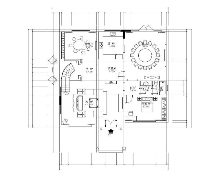 [广东]新中式风格高档三层别墅装饰施工图及效果图