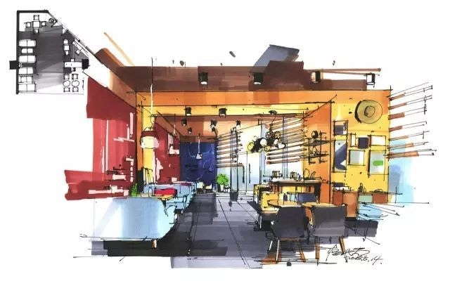 室内手绘|室内设计手绘马克笔上色快题分析图解_14