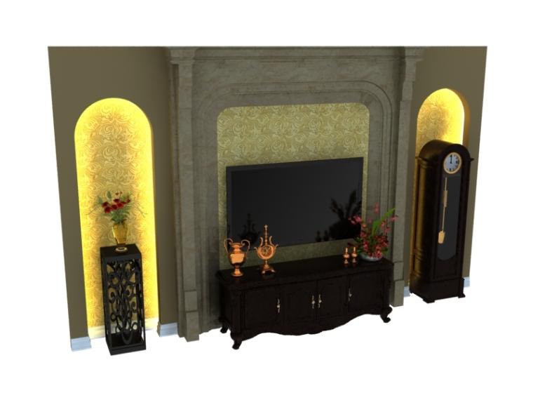 大气电视墙3D模型下载