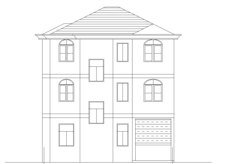 砖混结构户型三层新农村单家独院式别墅建筑施工图(CAD+效果图)