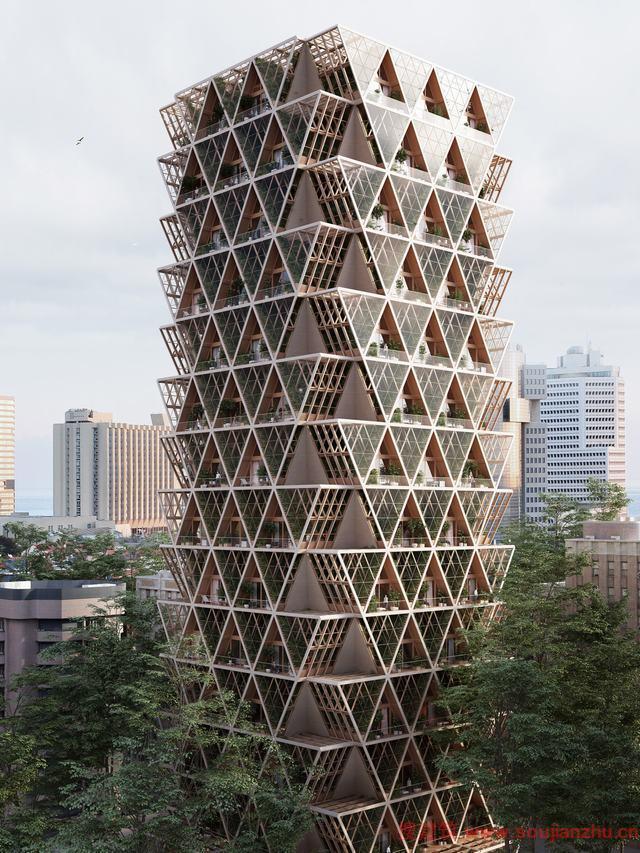 Precht设计了模块化住宅和垂直农场结合的木质摩天大楼