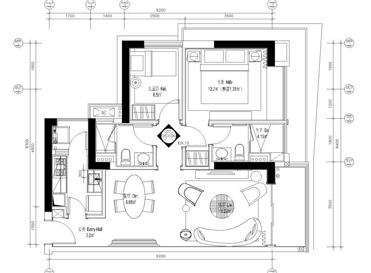 [深圳]华润大涌69平两居室样板间施工图+设计方案+软装方案+物料书+官方摄影