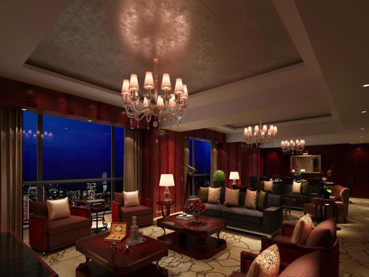 欧式夜景客厅3D模型下载