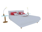 简约双人床3D模型下载