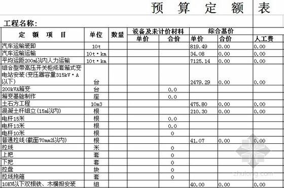 电气安装工程量计算表及定额套价表(自动计算)