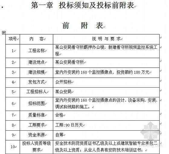 某公安局看守所视频监控系统招标文件(2011)