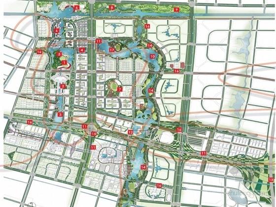 """南通濠河区域城市规划资料下载-[南通]""""景观飘带""""为主题的可持续现代新城景观规划设计方案"""