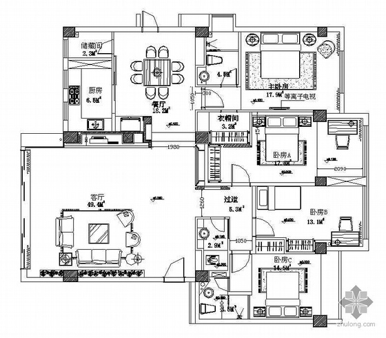 某四室两厅装修是施工图(含效果图)