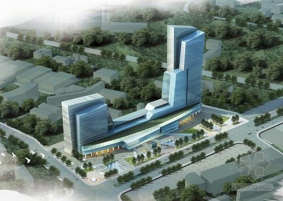 [深圳]清新典雅现代风格高层办公大厦建筑设计方案文本