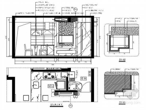 [福州]特色时尚住宅区现代简约两居室样板房装修图(含效果)客厅立面图