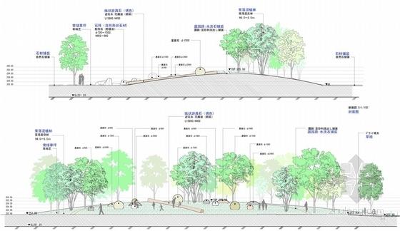 [重庆]寺庙周边景观扩初设计方案-景观剖面图
